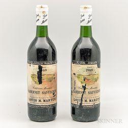 Louis Martini Cabernet Sauvignon California Mountain 1969, 2 bottles