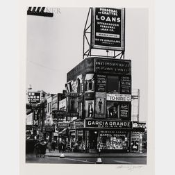 Berenice Abbott (American, 1898-1991)      Billboards and Signs, Fulton Street between State Street and Ashland Place, Brooklyn