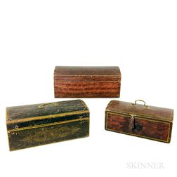 Three Small Paint-decorated Pine and Poplar Dome-top Boxes