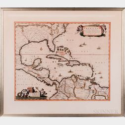 Eastern Atlantic, Gulf of Mexico, Caribbean, Central America. Nicolaes Visscher I (1618-1679) Insulae Americanae in Oceano Septentriona