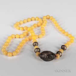 String of Yellow Jadeite Beads