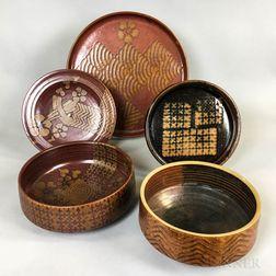 Five Michael Cohen (American, b. 1936) Pottery Tableware Items