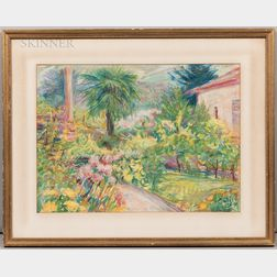 American or French School, 20th Century      Two Colorful Garden Scenes: Tropical Landscape
