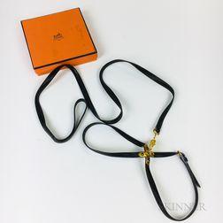 Hermes Brown Leather Dog Leash