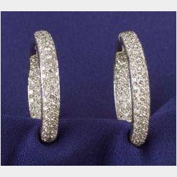18kt White Gold and Diamond Hoop Earrings