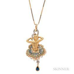 18kt Gold, Plique-a-Jour Enamel, and Diamond Pendant