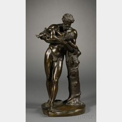 Grand Tour Bronze Figure of Dionysus with Infant Bacchante