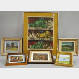 Two Framed 20th Century and Four Framed Contemporary 20th Century Works