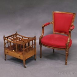 George III-style Bleached Mahogany Canterbury and a Carved Walnut Fauteuil