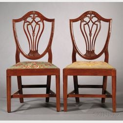 Pair of Federal Mahogany Shield-back Side Chairs