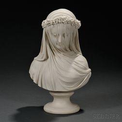 Copeland Parian Bust of the Veiled Bride