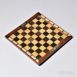 Miniature Mahogany and Inlaid Folding Checkerboard and Cribbage Counter
