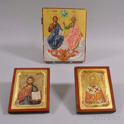 Three Contemporary Russian Painted Wood Icons