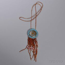Blackfeet Beaded Hide Necklace and Photograph