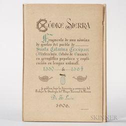 Codex Sierra Texupan, Codice Sierra Fragmento de una Nomina de Gastos del Pueblo de Santa Catarina Texupan.