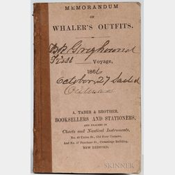 Memorandum of Whaler's Outfits. Bark Greyhound's First Voyage, October 27, 1866.