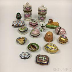 Seventeen Limoges Porcelain Boxes