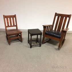 Stickley Brothers Arts and Crafts Oak Rocking Side Chair and Barleytwist Stool