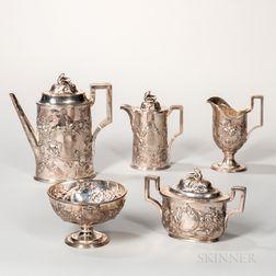 Five-piece Tiffany, Young & Ellis Silver Tea Service