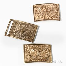 Three Model 1851-style Brass Eagle Belt Buckles