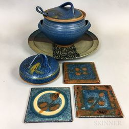 Michael Cohen (American, b. 1936) Pottery Charger, Bean Pot and Ladle, Butter Dish, and Three Trivets
