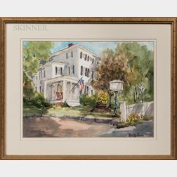 Two Framed Works:      Dorothy Mack Russell (American, 1914-2012), The Inn on Cove Hill, Rockport