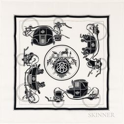 "Framed Hermes ""Ex Libris"" Black and White Silk Scarf"