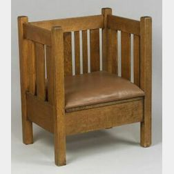 Arts and Crafts Oak Cube Chair