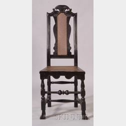Rare Carved and Painted Maple Crooked Back and Cane Side Chair