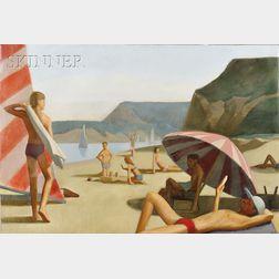 Patrick M. Webb  (American, 20th/21st Century)      Bathers on the Beach
