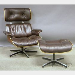 Eames-style Brown Naugahyde Upholstered Walnut Veneer Laminated Lounge   Chair and Ottoman