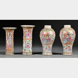 Four Assembled Mandarin Decorated Porcelain Garniture Vases