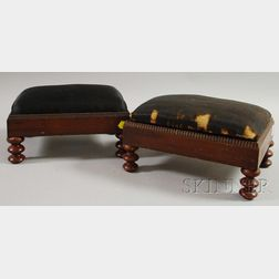 Pair of Victorian Mahogany Veneer and Spool-turned Footstools with Horsehair   Upholstered Slip Cushions