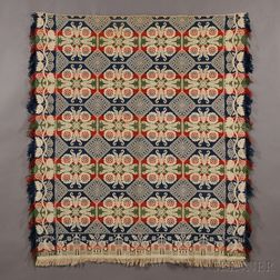 Patriotic Three-color Tied-Beiderwand Coverlet