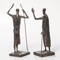 Two Franz Fischer (1900-1980) Patron Saints of Zurich   Abstract Bronze Sculptures