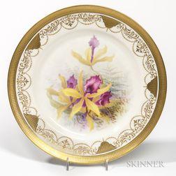Set of Twelve Lenox Porcelain Hand-painted Orchid Plates