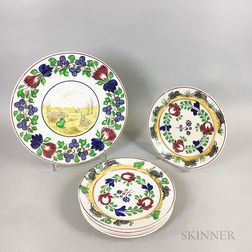 Six Transfer-decorated Spatterware Dinner Plates and a Charger