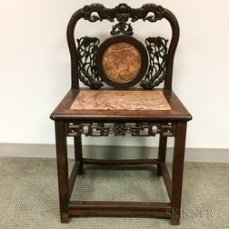 Carved Hardwood and Marble Side Chair
