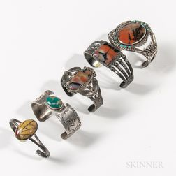 Five Navajo Silver and Petrified Wood Bracelets