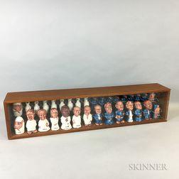 Mid-century Folk Art Politically-themed Chess Set by Myrna Goldberg