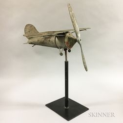 Painted Tin Airplane Whirligig