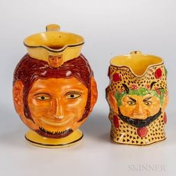 Two Yellow-glazed Staffordshire Face Jugs