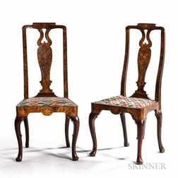 Pair of George I Walnut, Beech, and Marquetry Side Chairs