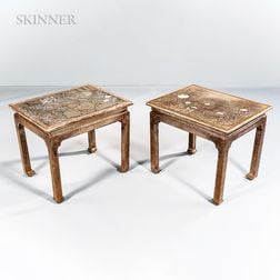 Max Kuehne (American, 1880-1968)      Pair of Wooden Tables with Floral Motifs
