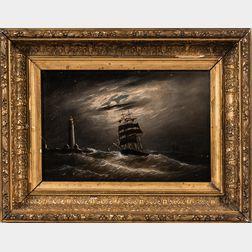 Clement Drew (Massachusetts, 1806-1889)      Night off Boston Light