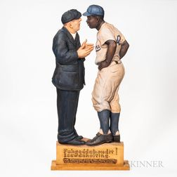 Carved and Painted Jackie Robinson Sculpture