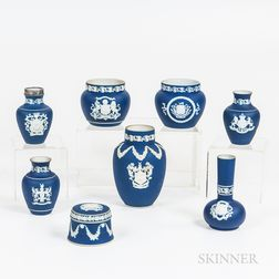 Eight Mostly Adams Dark Blue Jasper Armorial Items