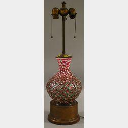 Volcanic Cased Iridescent Art Glass Vase/Table Lamp