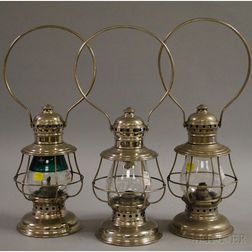 Three Nickel-plated Presentation Railroad Kerosene Lanterns