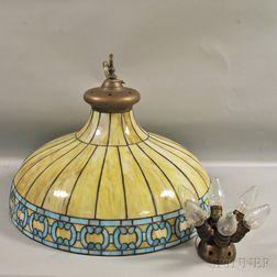 Leaded Slag Art Glass Hanging Lamp